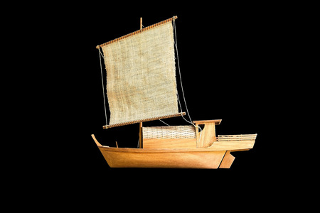 Beautiful wooden ship figurine photo