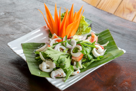 spicy salad, shrimp and mix vegetable, asian food. photo