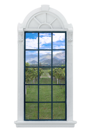 window sill: Modern residential window and vineyards behind.