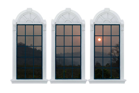 window sill: Modern residential window and sunset behind. Stock Photo