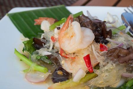 cellophane: cellophane noodles stir-fried with shrimps and vegetables