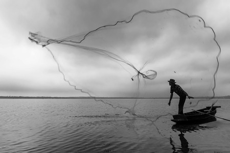 Fisherman. image black and white