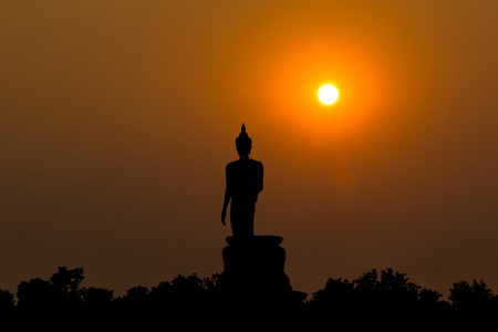 sleek: Buddha at sunset. When the evening sun is bright red. Lord Black is a sleek backlit.