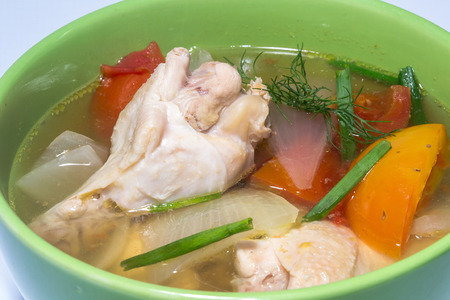 sopa de pollo: chicken soup (Thai food) home made Foto de archivo