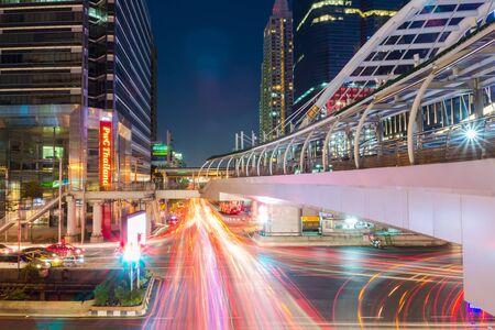 silom: Bangkok - April 04: Chong Nonsi Station with Sathorn Thani Building on April 04, 2015 in Bangkok, Thailand. Chong Nonsi Station is a BTS sky-train station, on the Silom Line in Bang Rak District. Editorial
