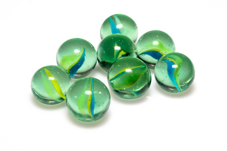 Group of Marbles Colorful with shadow on white background 版權商用圖片