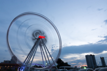 riverfront: BANGKOK THAILAND - AUGUST 16 : Ferris Wheel in ASIATIQUE The Riverfront at twilight time , on August 16, 2015 in Bangkok, Thailand.