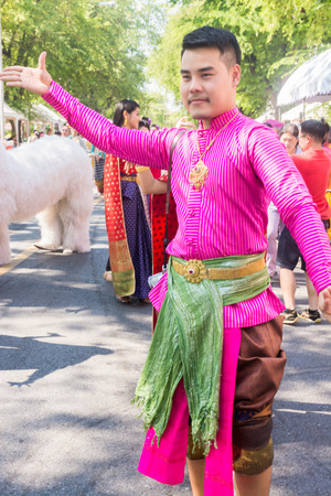 BANGKOK, THAILAND - OCTOBER 2: Thai traditional dance. This is the parade of making traditional merit of people from the northern territory of Thailand, October 2, 2016 in Bangkok, Thailand.