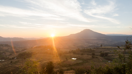 Sunset view from top of mountain at national park, Thailand.