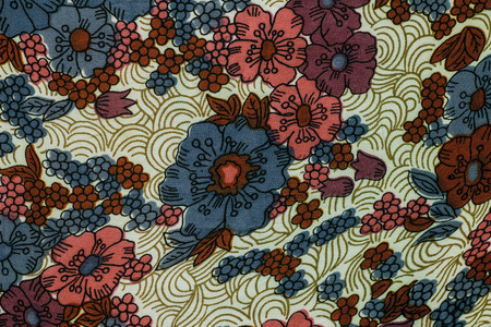 tapestry: Fragment of colorful retro tapestry textile pattern with floral ornament useful as background