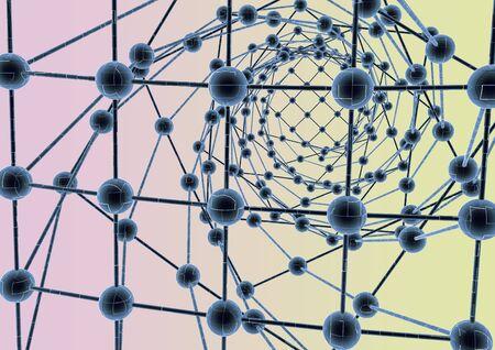 crystalline: Molecular crystalline lattice.High technology abstract background.