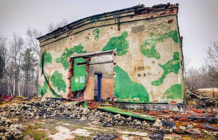 abandoned warehouse: Abandoned warehouse. Gloomy ruins of an abandoned military warehouse