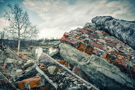 judgement day: Destroyed building.The post-apocalyptic landscape after a nuclear war Stock Photo