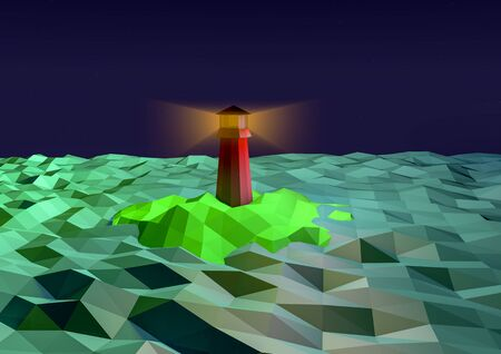 lighthouse at night: Lighthouse at night on the island in the sea in low-polygonal style