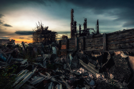 The world after nuclear war.Destroyed by the war remains of buildings at sunset