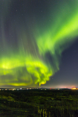 ionosphere: Bright Northern lights in the night sky