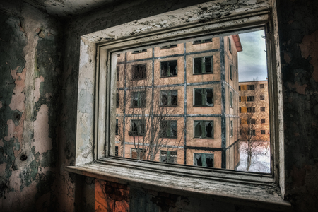 The view from the window at the abandoned city