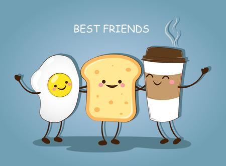 Beste vrienden. Ontbijt. Goedemorgen. Leuke foto van een koffie, eieren en toast. Vector illustratie. Stock Illustratie