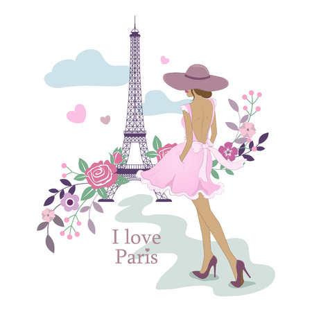 I Love Paris. Image of the Eiffel Tower and women. Vector illustration. Paris and flowers. Paris, France fashion stylish illustration.