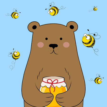 Cute bear with honey. Bear and bees. Vector illustration.