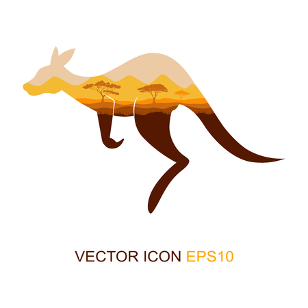 Silhouette of a kangaroo. Logo. The flat icon with the image of a kangaroo. View kangaroos from the side. African nature. Wild nature. Vector illustration. Illustration