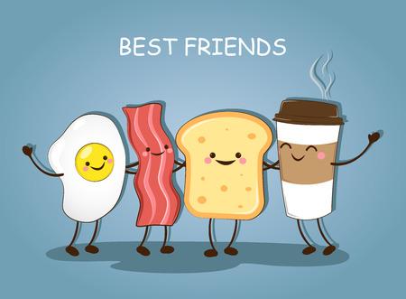 Beste vrienden. Ontbijt. Ontbijt. Goedemorgen. Leuke foto van een koffie, spek, eieren en toast. Vector illustratie.