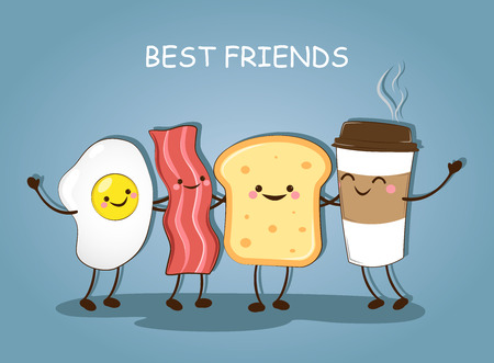 Best friends. Breakfast. Morning breakfast. Good morning. Cute picture of a coffee, bacon, eggs and toast. Vector illustration.