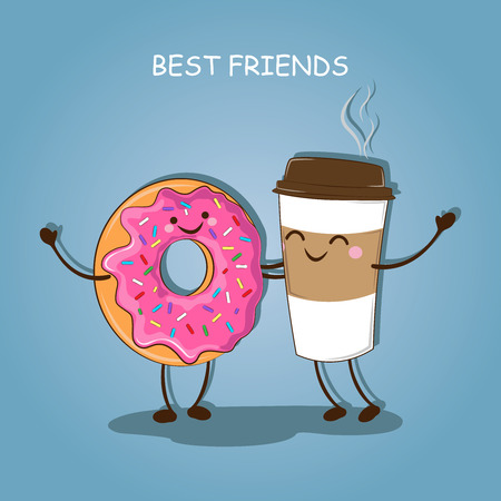 hot couple: Breakfast. Morning breakfast. Best friends. Vector illustration.
