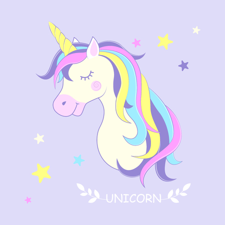 Unicorn. Vector illustration. Cute unicorn with stars in the background. Ilustração
