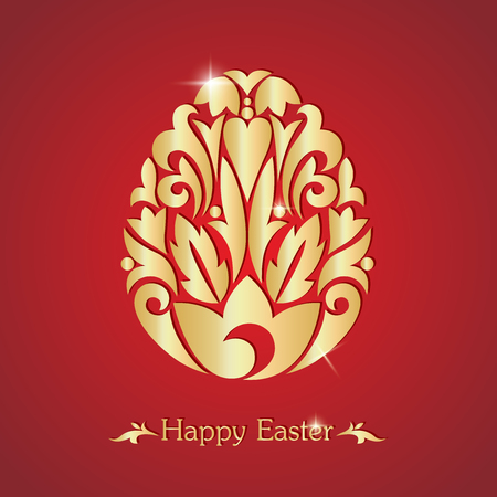 golden egg: Happy easter. Easter egg. Silhouette of an egg on a red background. Vector illustration. Illustration