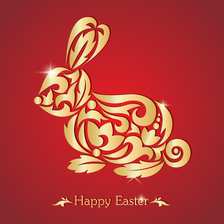 Happy easter. Easter bunny. Silhouette of a rabbit on a red background. Vector illustration.