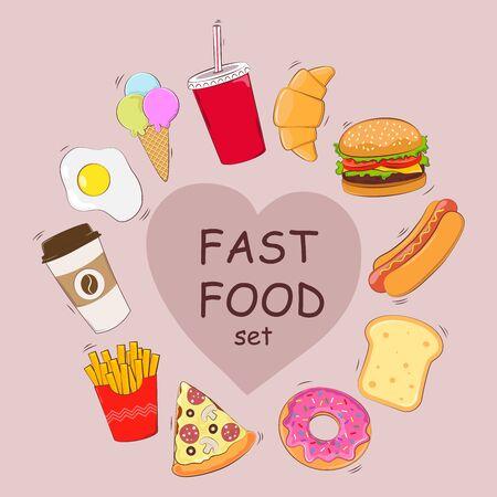 Fast food set. A set of food. Breakfast. Vector illustration. Illustration