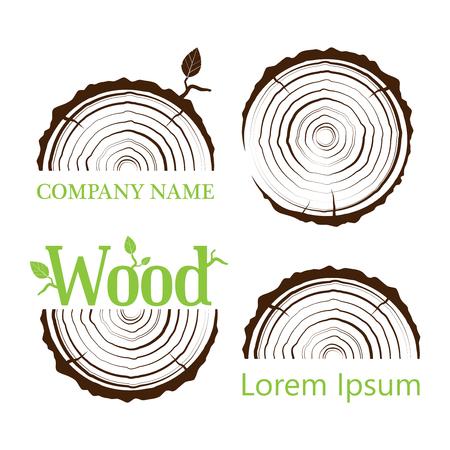 Establecer una sección transversal del tronco con anillos de árbol. Ilustración vectorial Logo. Anillos de crecimiento de los árboles Sección transversal del tronco de árbol. icono de plano Logos