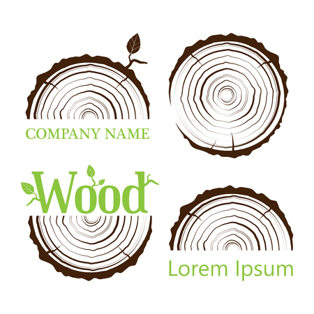 Set a cross section of the trunk with tree rings. Vector illustration. Logo. Tree growth rings. Tree trunk cross-section. flat icon.