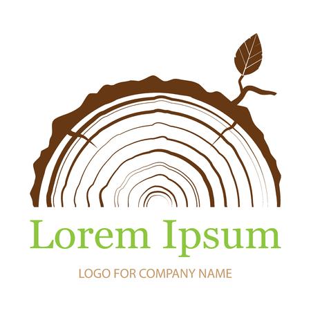 Section transversale du coffre avec des anneaux d'arbre. Icône de signe en bois. Anneaux de croissance des arbres. Icône plate. Illustration vectorielle. Logo.