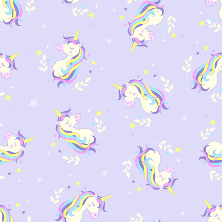 Seamless background with a unicorn. Pattern. Vector illustration.