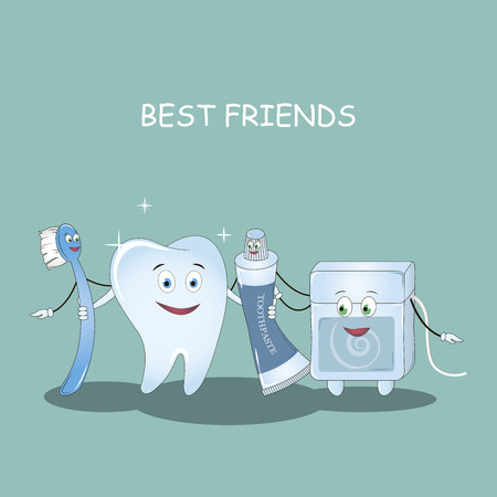 Best Friends teeth. Vector illustration. Illustration for children dentistry and orthodontics. Image toothbrush, tooth paste, dental floss and tooth Illustration