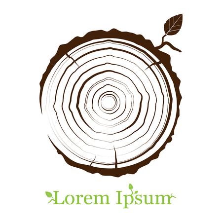 dwarsdoorsnede van de stam met boomringen. Houten teken pictogram. Boomgroei ringen. platte pictogram. Vector illustratie. Logo.