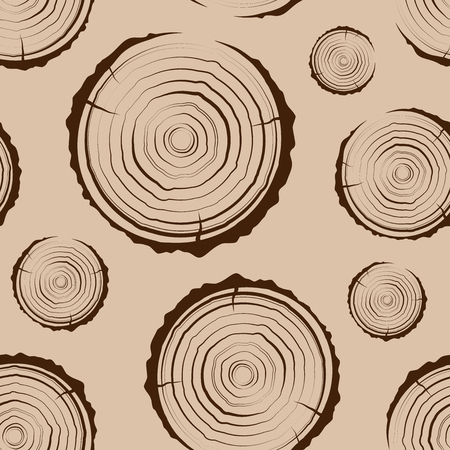 Tree Rings seamless. A simple pattern. Saw cut the tree trunk background. Cross section of the trunk with tree rings.