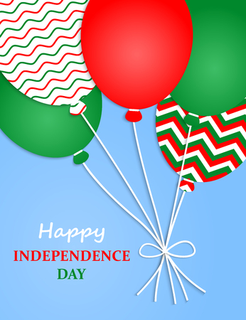 Italy Independence Day. Italy Patriotic Poster. Independence Day Placard with Bright Colorful Balloons of Country National Colors. Italia Independence Day Celebration. Vector illustration