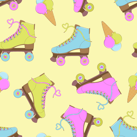 Seamless background with rollers and ice cream. A simple pattern. Summer time. Vector illustration.