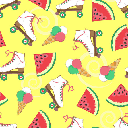 Seamless background with rollers, watermelon and ice cream. A simple template. Summer time. Vector illustration.