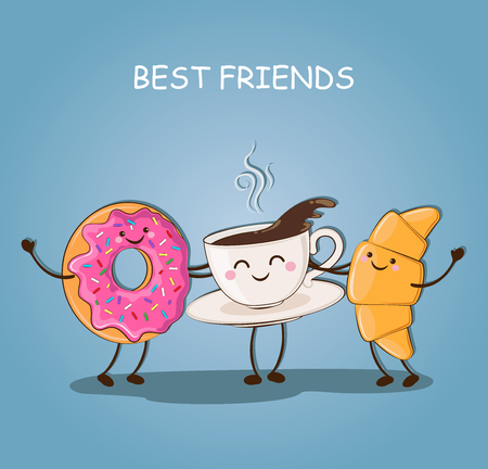 Morning breakfast. Best friends. Breakfast. Cute picture of a coffee, a donut and a croissant. Vector illustration. Illustration
