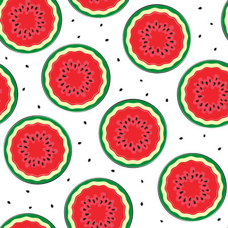 Seamless background with a watermelon. A simple pattern. Vector illustration.
