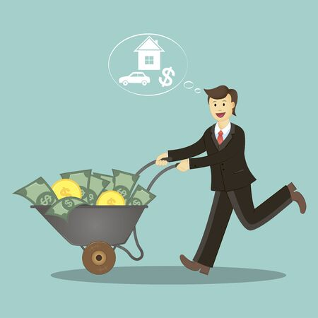 Happy young successful businessman wheels trolley with money, business concept cartoon illustration.