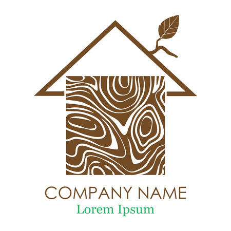 Silhouette of a house. Vector logo design template of wood house. Vector Business Logo. Logo. Vector illustration.