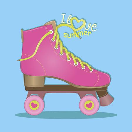 Hola Verano. Me gusta el verano. Ilustración del vector. Rodillos rosados. Patinaje sobre ruedas. Tiempo de verano.