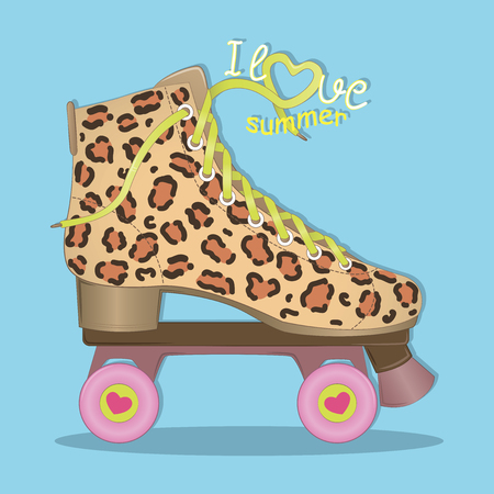 Hello summer. I love summer. Vector illustration. Image rolls with leopard print. Roller Skates. Roller skating.