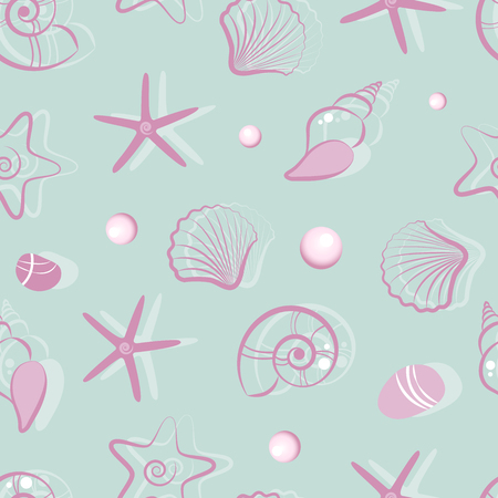 Seamless background with shells. Live nature. Vector illustration. The Set of seashells.
