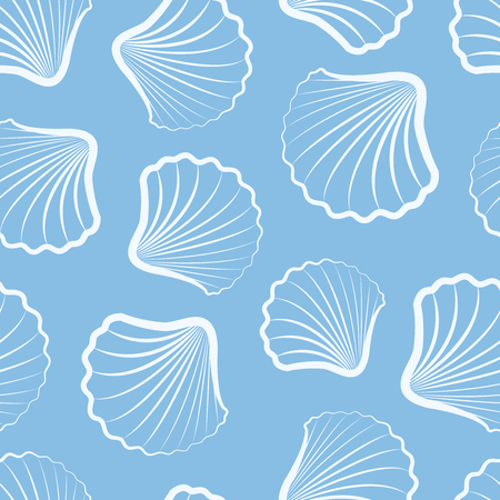 Seamless background with shells. Set of seamless patterns with sea shells. Vector illustration.